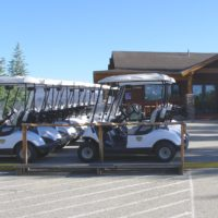 Front of clubhouse and carts